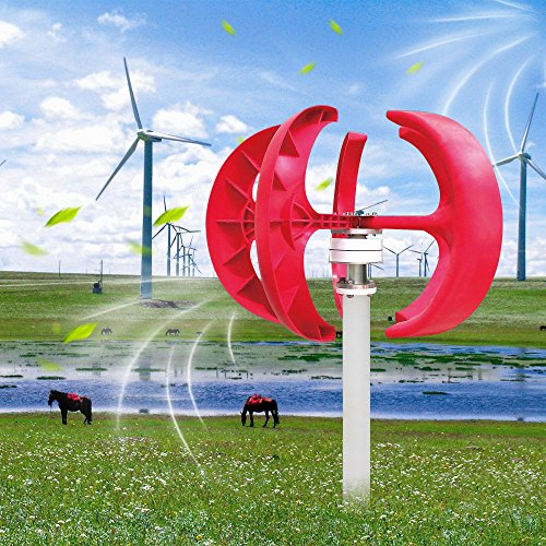 TFCFL 300W 12V Wind Turbine Generator Red Lantern 5 Blades Vertical Axis Wind Turbine Kit with Controller by TFCFL (Image #1)