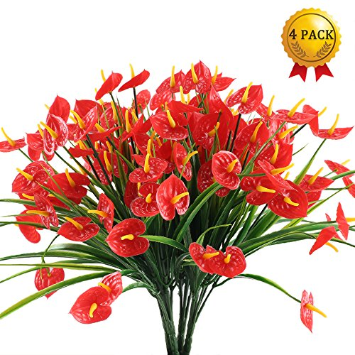 Nahuaa 4PCS Artificial Anthurium Flowers Fake Greenery Plants Faux Plastic Wheat Grass Shrubs Table Centerpieces Arrangements Home Kitchen Office Indoor Outdoor Spring Decorations Red