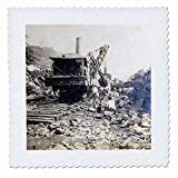 3dRose Scenes from the Past Magic Lantern Slides - 1906 Steam Shovel at the Panama Canal Bas Obispo Vintage - 18x18 inch quilt square (qs_269817_7)