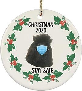 Lovesout Funny Saying Standard Poodle Black Stay Safe Quarantine 2020 Christmas Tree Ceramic Circle Ornament