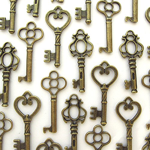 Salome Idea Skeleton Key Set in Antique Bronze (30 Keys) 3 Different Styles - Vintage Style Key Replicas (Small Size, Bronze Color)