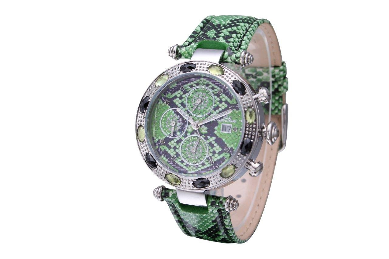 WATCH WOMAN ''EXOTIC'' CHRONOGRAPH SERPENT GREEN - Cuir vert Serpent by Diamstars