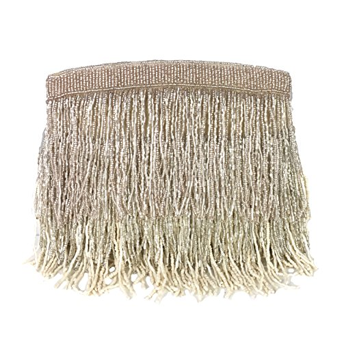 From St Xavier Sienna Beaded Fringe Clutch Evening Bag (Champagne/Silver) by From St Xavier
