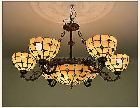 Lámpara de techo con pantalla de vidrio estilo 6 + 1 de ...