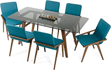 Amazon Com Homeroots Wood Glass Modern Smoked Glass Dining Table Tables