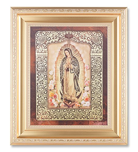 GOLD OUR LADY OF GUADALUPE IN A FINE DETAILED SCROLLWORK SATIN GOLD FRAME 11-1/2