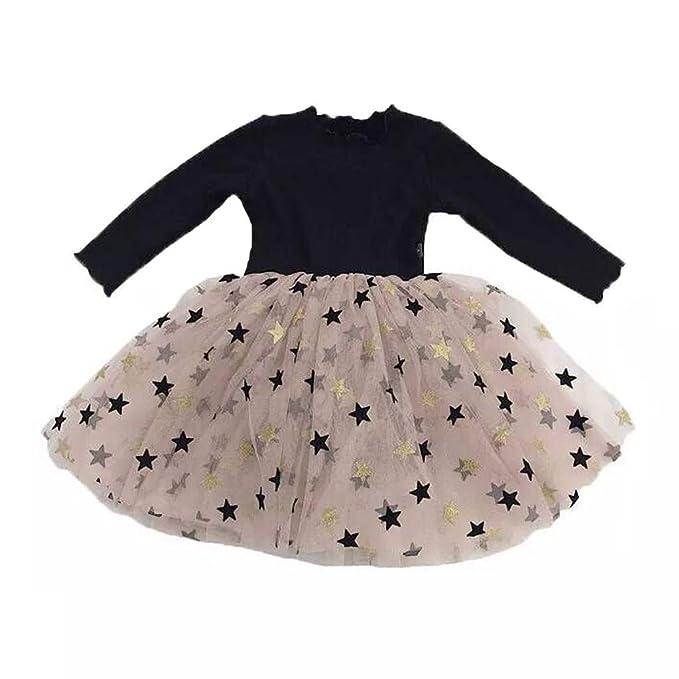 dba03ca7a950 Amazon.com: Teen Kids Toddler Baby Girls Dress Net Yarn Pentagram Print  Little Princess Dresses Outfits Splice Skirt 1-6 Years: Clothing