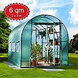 6m² Gewächshaus mit Stahlfundament Garten Treibhaus Tomatenhaus Pflanzenhaus Frühbeet Foliengewächshaus