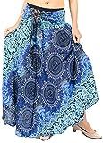 vvProud Women's Long Hippie Bohemian Skirt Gypsy Dress Boho Clothes with Jango Flowers | One Size Fits Asymmetric Hem Design (Blue Flower)