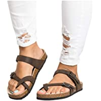 Yealsha Women's Gladiator Sandals, Casual Ankle Buckle Strap Flat Slides, Summer Beach Shoes Flip-Flops