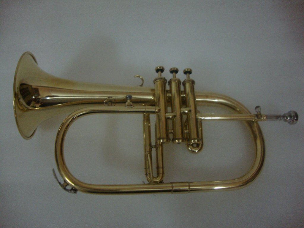 Surbhi Music Golden Lacquer Flugel Horn Bb Flat With Free Case Box & Mouth Pc.
