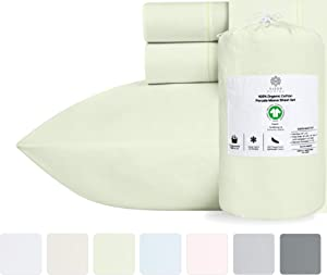 100% Organic Cotton Bed Sheets - Crisp and Cooling Percale Weave, Breathable 4 Piece Sheet Set, Deep Pocket with All-Around Elastic (King, Pistachio Green)