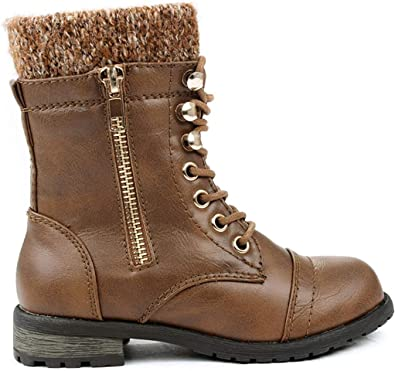Kids Girls Boys Leather Round Toe Military Lace Up Mid Calf Combat Boots Winter Warm Snow Boots