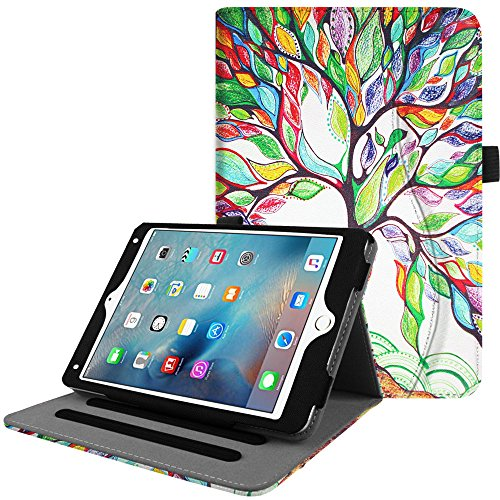 Fintie iPad Mini 4 Case [Corner Protection] - [Multi-Angle Viewing] Folio Smart Stand Protective Cover with Pocket, Supports Auto Wake/Sleep for Apple iPad Mini 4 (2015 Release), Love Tree