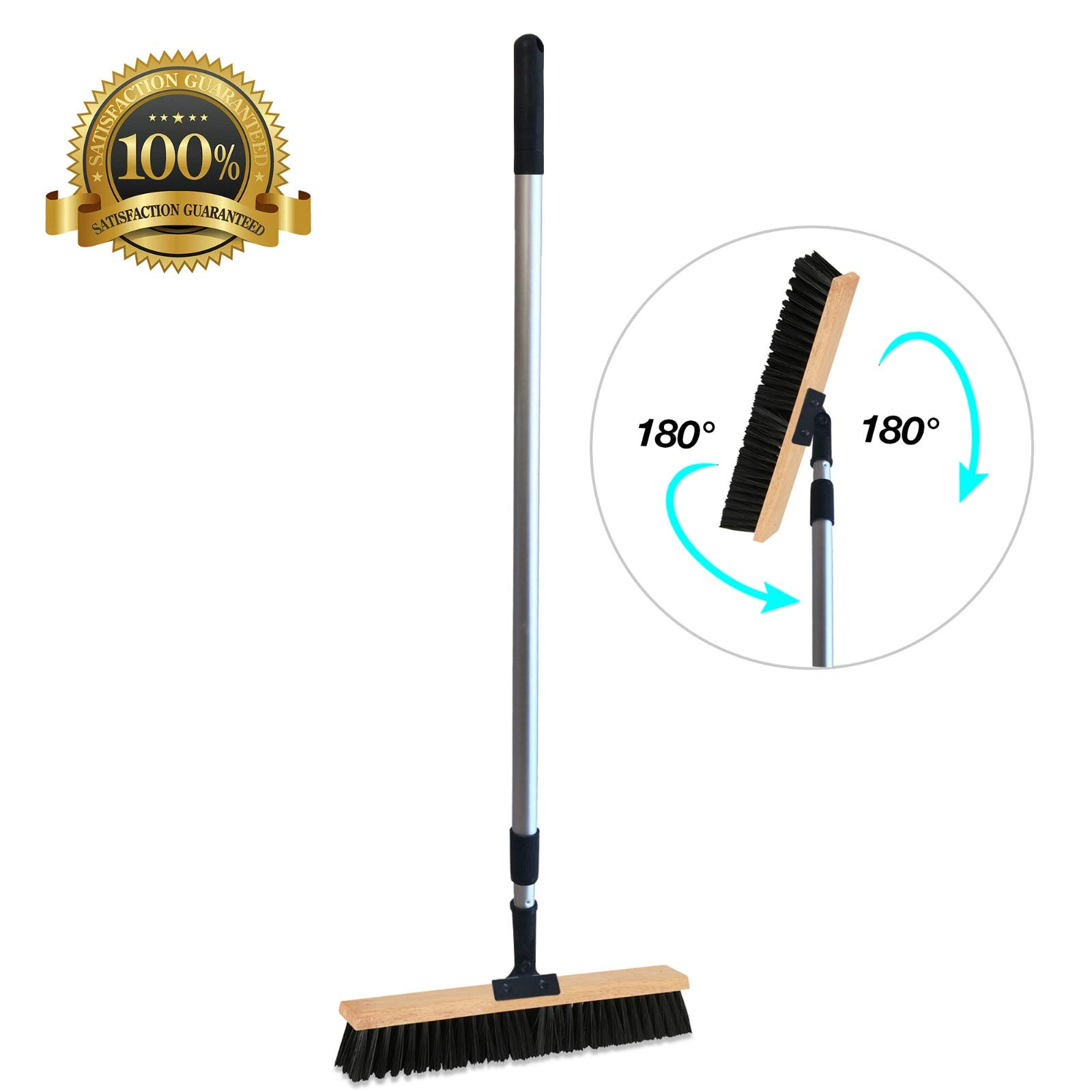 Sweep Stake Professional Swivel 18'' Wide Push Broom Easy N` Flexible With Telescoping Handle That Extends from 3-5'
