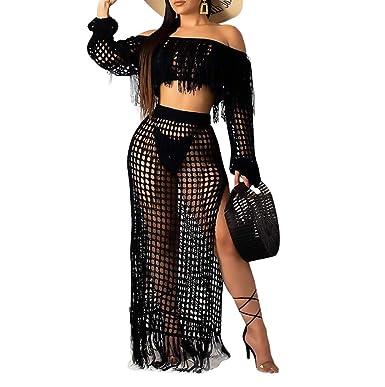 e1d820d476 Women Two Piece Skirt Set - Tassel Hollow Out Off Shoulder High Split Cover  Up Bikini