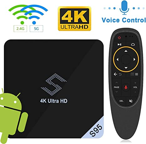 Android 8.1 TV Box, VIDEN S95 Smart TV Box Amlogic S905X2 Quad Core Wi-Fi-Dual 2.4G/5.8G, 4K*2K UHD H.265, USB 3.0, WiFi Media Player, Android Set-Top Box con Voice Remote Control: Amazon.es: Electrónica