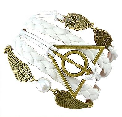 00ce45053ac9 Pulseras Harry Potter con símbolos Golden Snitch & Death Hallow y  búho/Lechuza – Cosplay – modelos a elegir