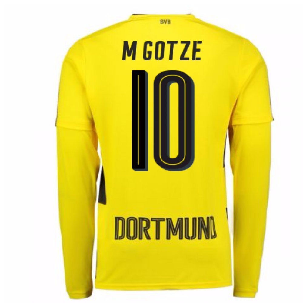 2017-18 Borussia Dortmund Long Sleeve Home Football Soccer T-Shirt Trikot (Mario Gotze 10)