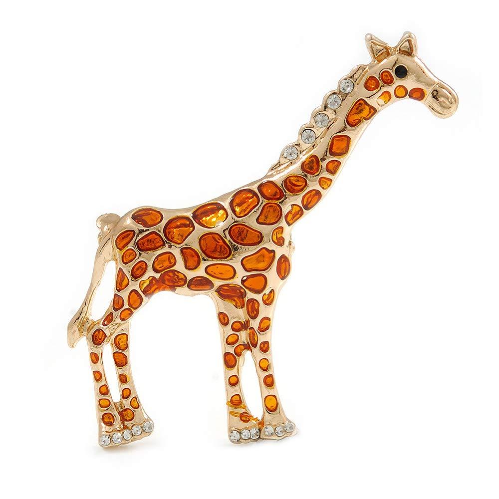 Avalaya Broche en Forme de Girafe avec Cristaux dor/és et Pois Oranges 65 mm de Haut