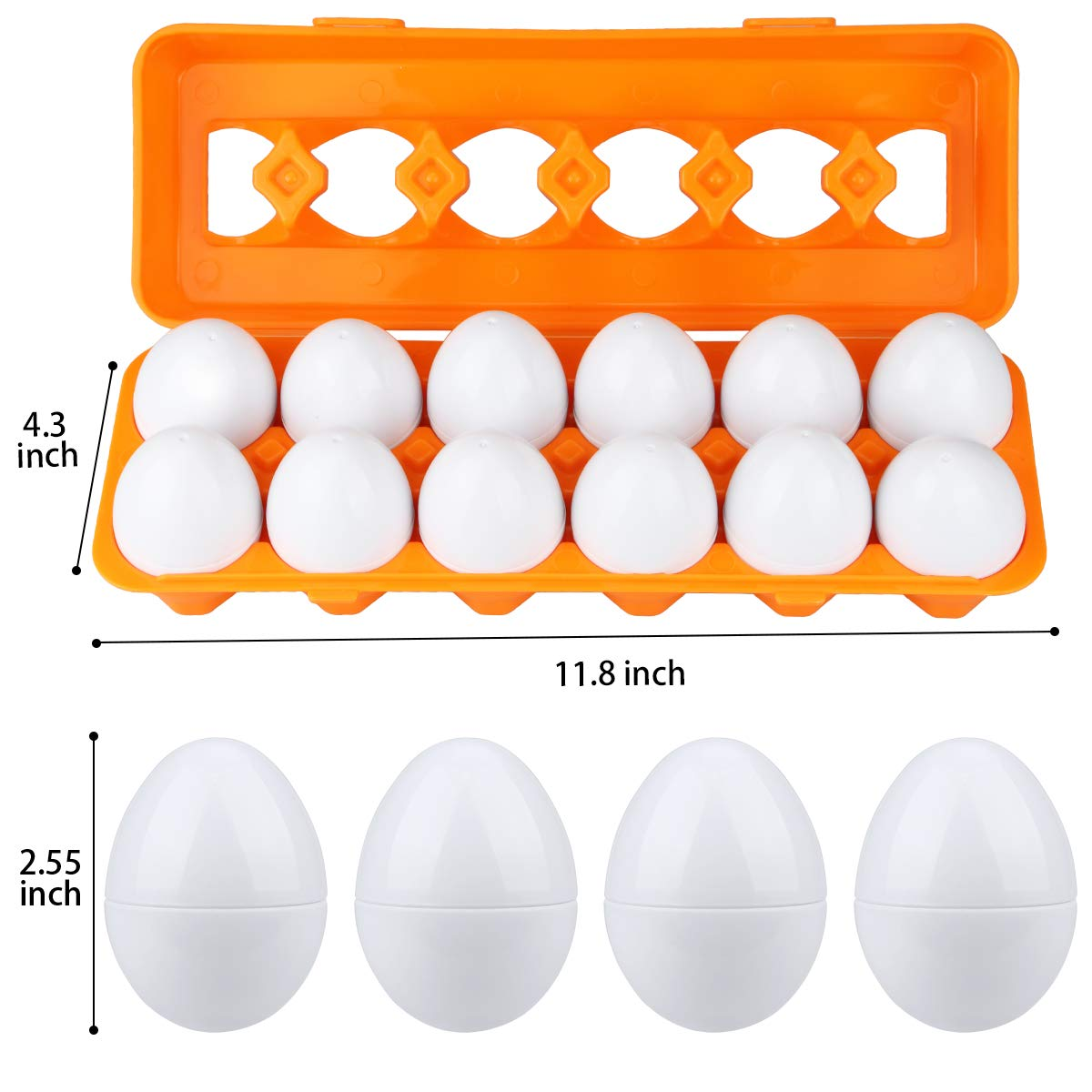 Aiduy Toddler Egg Set Toys, Educational Colour Matching Shape Sorting Learning Toys for 1 2 3 Year Old Kids Boy Girls (12pcs)