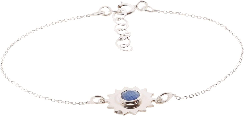 Córdoba Jewels |Pulsera en Plata de Ley 925 con Piedra semipreciosa con diseño Flor Montana Silver