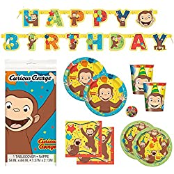 Deluxe Curious George Children's Birthday Party Supplies Pack with Decorations - Serves 16
