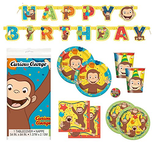 Curious George Deluxe Children's Birthday Party Supplies Pack with Decorations - Serves 16 ()