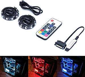Magnetic RGB LED Strip Lights for PC Computer case - 2pcs 12inches LED Strip Kit with RF Remote Control