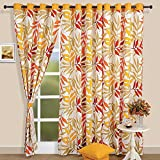 Tropical Palm Cotton Door Curtains-54 x 84 Inch Set Of 2 Panels -Gold With White, Taupe, Orange and Red