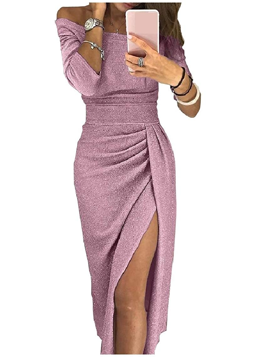 Highisa Womens Silm Fit Shoulder Off Sparkly Banquet Split Pencil Long Dress