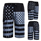 Overmal Men's Loose Fit Flag Print Quick-Dry Sports Beach Shorts Trunks Board Pants