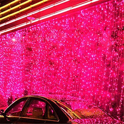 8 Modes 192 Leds 4M (W) X 1.5M (H) Curtain Lights String Fairy Light Window Curtain Icicle Lights Window Lights For Christmas Wedding Party Hotel Decorations (Red)