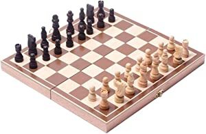"""BlueSnail 15"""" Classic Vintage Standard Folding Wooden Chess Set, Foldable Games Board Crafted Carved"""