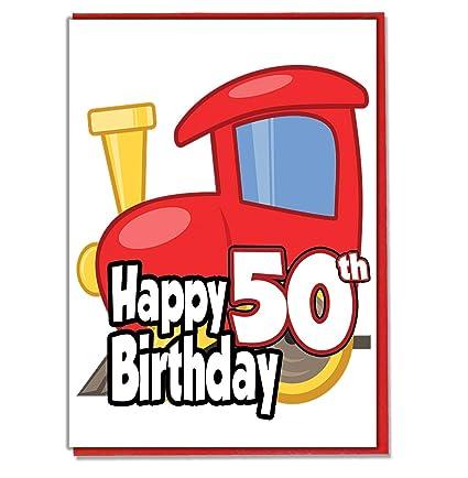 Toy Train - Tarjeta de 50 cumpleaños para hombres, hijo ...