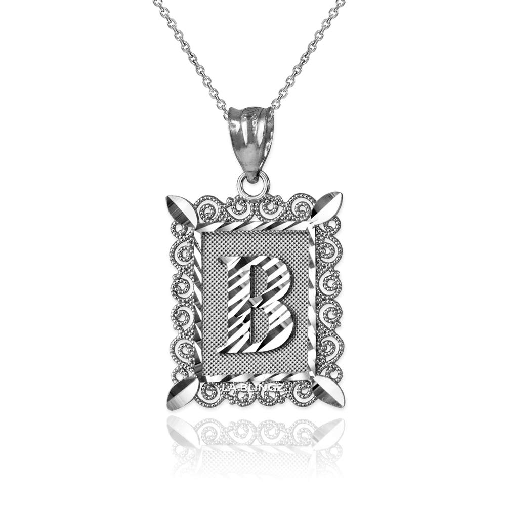 LA BLINGZ 14K White Gold Filigree Alphabet Initial Letter B DC Pendant Necklace