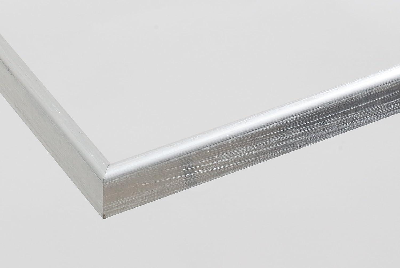 Olympia Aluminium Bilderrahmen 60x100 cm 100x60 cm Farbwahl  hier Silber handgebürstet mit entspiegeltem Acrylglas