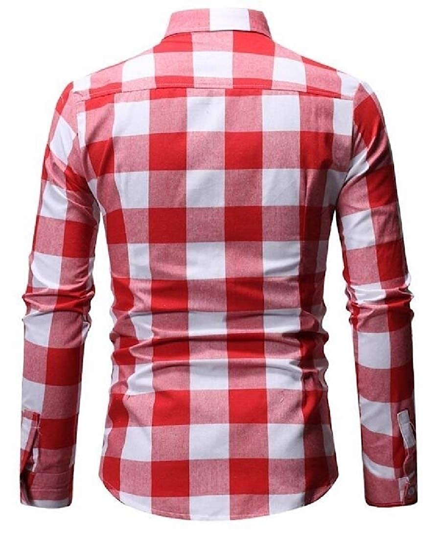 pujingge Mens Classic Shirt Slim Long Sleeve Plaid Button Front Shirts