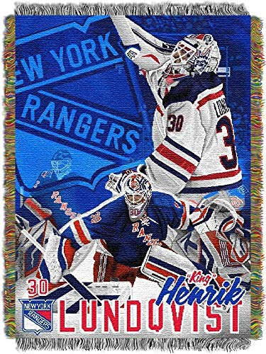 The Northwest Company Northwest NOR-1NHP051000014RET 48 x 60 in. Henrik Lundqvist New York Rangers NHL Woven Tapestry Throw Blanket
