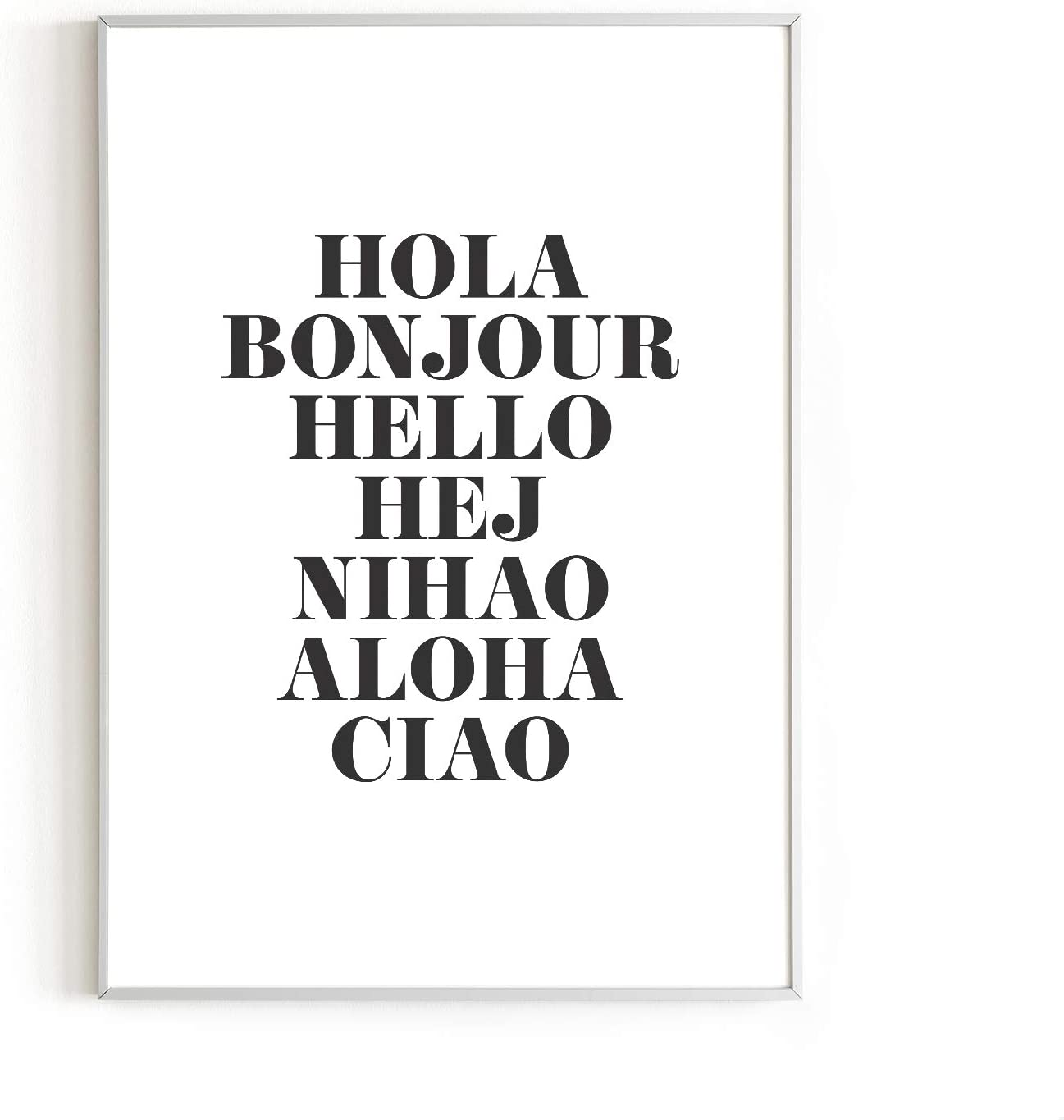 """Hello In Six Languages Art Print by Haus and Hues 