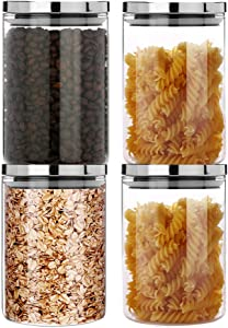 SIXAQUAE Glass Food Storage Containers Jar Stainless Steel Lids 4 Packs 1000ml Airtight Canister Organization Sets Stackable…