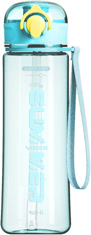 Botella de Agua con Pajita, 500 ml sin BPA con Marcador de Tapa A Prueba de Fugas Plástico Reutilizable Portátil para Adolescentes Deportes para Adultos Gimnasio Fitness