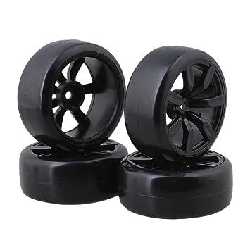 Neumáticos Slick de plástico negro de 65 mm con llantas de plástico de 7 radios para