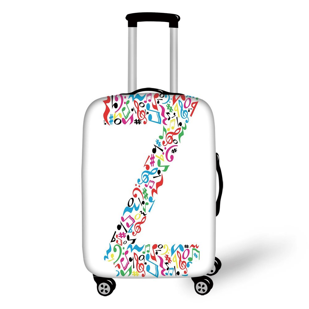 Travel Luggage Cover Suitcase Protector,Letter Z,Collection of Vibrant Musical Signs and Notes in Shape of Capital Z Alphabet Font,Multicolor,for Travel