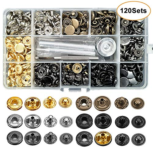 120 Set Leather Snap Fasteners Kit, 12.5mm Metal Button Snaps Press Studs with 4 Installation Tools, 6 Color Leather Snaps for Clothes, Jackets, Jeans Wears, Bracelets, Bags