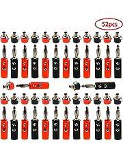 RUNCCI-YUN Conector banana 4mm,Zócalo de Altavoz de Audio de 4 mm,Conectores Jack Aislados 4mm, Conector de Terminal de Amplificador,para Altavoces de Alambre, Placa de Pared y Jack de Audio