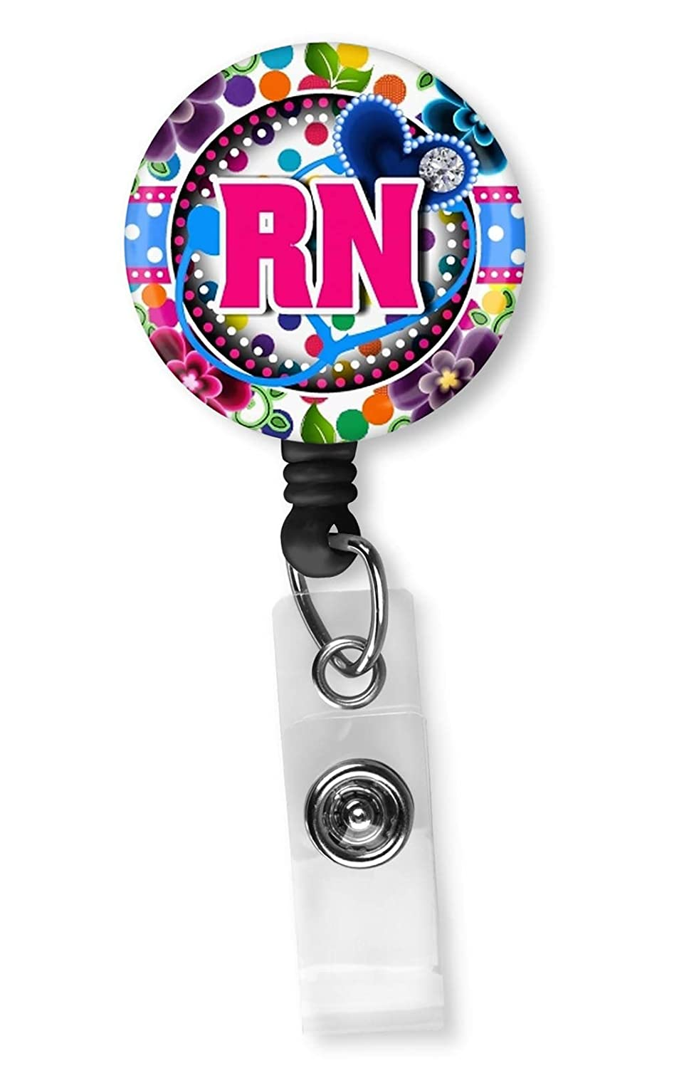 Pink RN Nurse with Flowers Retractable ID Card Badge Holder with Alligator Clip Name Nurse Decorative Badge Reel Clip on Card Holders