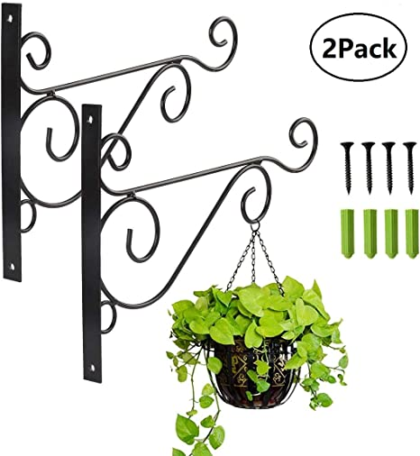 Metal Plant Bracket 2 Packs Iron Wall Mount Leaf Black Hangers for ...