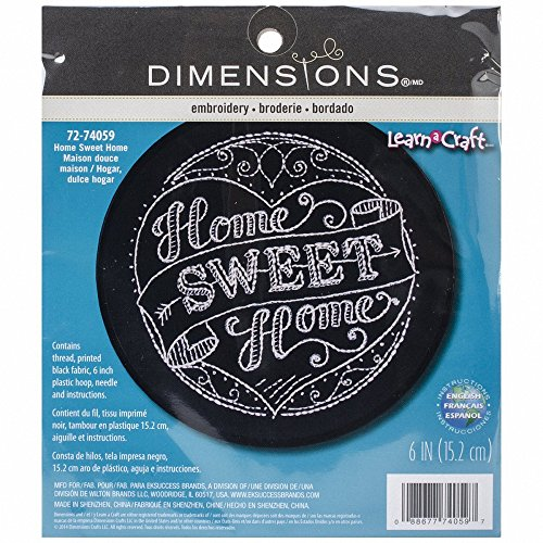 Black Crewel Embroidery Kit - Dimensions ''Home Sweet Home'' Embroidery Kit for Beginners, 6'' D