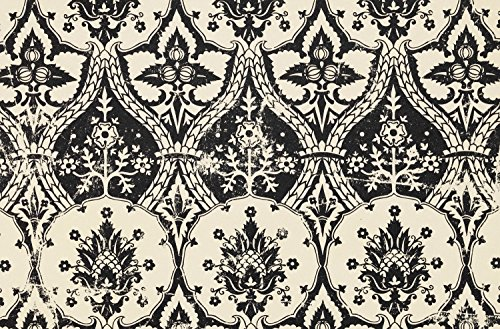 JP London SPMUR2180 Peel & Stick Removable Wall Mural Vintage Print Gothic Damask Toile At 3' Wide By 2' High Fully Removable Peel & Stick Wall Art (Vintage Wallpaper Toile)